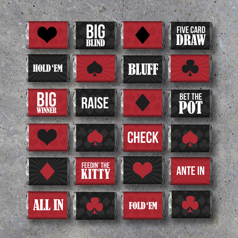 Poker Night Mini Candy Bar Wrappers – 24 Designs Featuring Card Suits and Poker Terms – Instant Download – Printable Digital Files