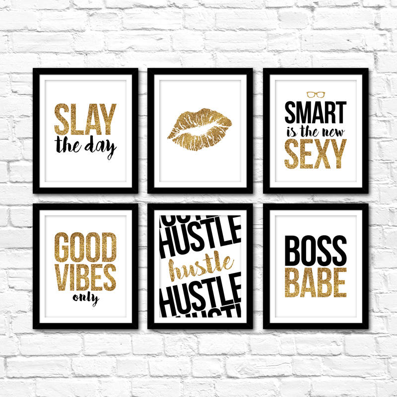 Printable Art Gold Glitter Office Collection Vol. 1 – Instant Downloads – Home Office Decor – DIY Gallery Wall Ideas – Entreprenuer Wall Art