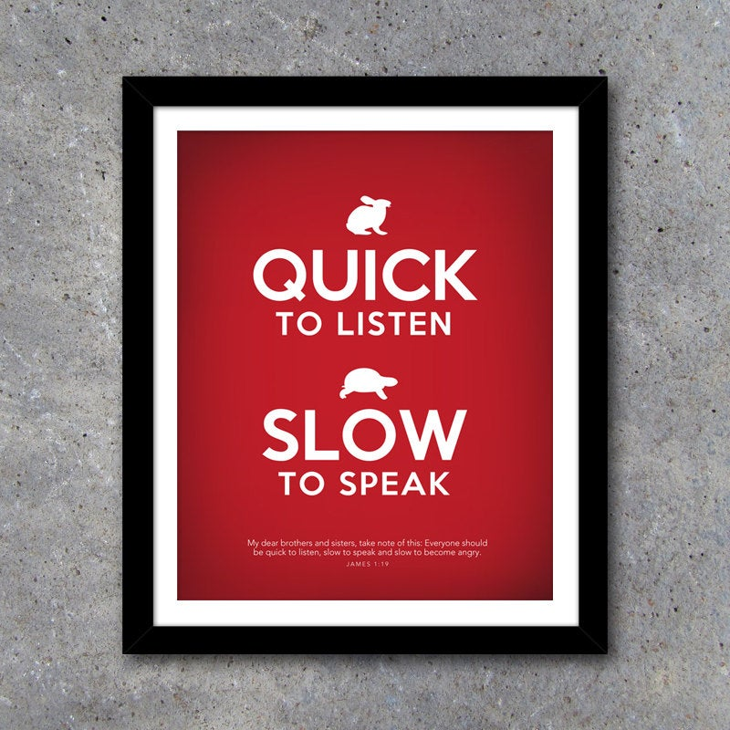 QUICK TO LISTEN Modern Wall Art – Printable Digital File – 8×10 – Christian – Faith – Scripture – Red – House Warming Gift – Wedding Gift