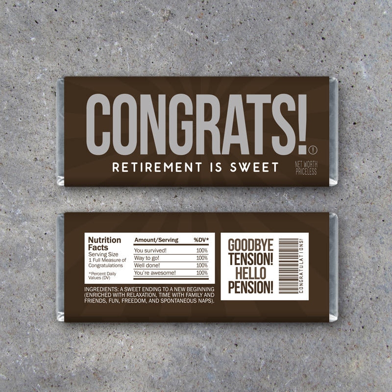 Retirement Candy Bar Wrappers – Printable Instant Download – Congratulations Happy Retirement Party Favors – CONGRATS Hershey Bar Gift Idea
