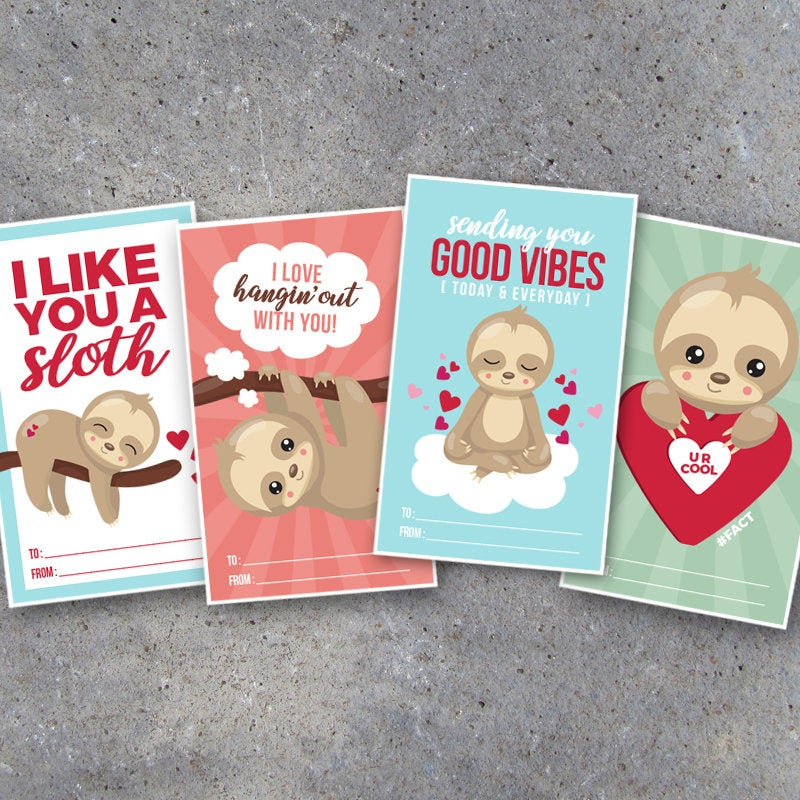 Sloth Valentine's Day Card for Kids – Printable Valentines cards great for classroom school friends & cute last minute DIY teacher gift tags