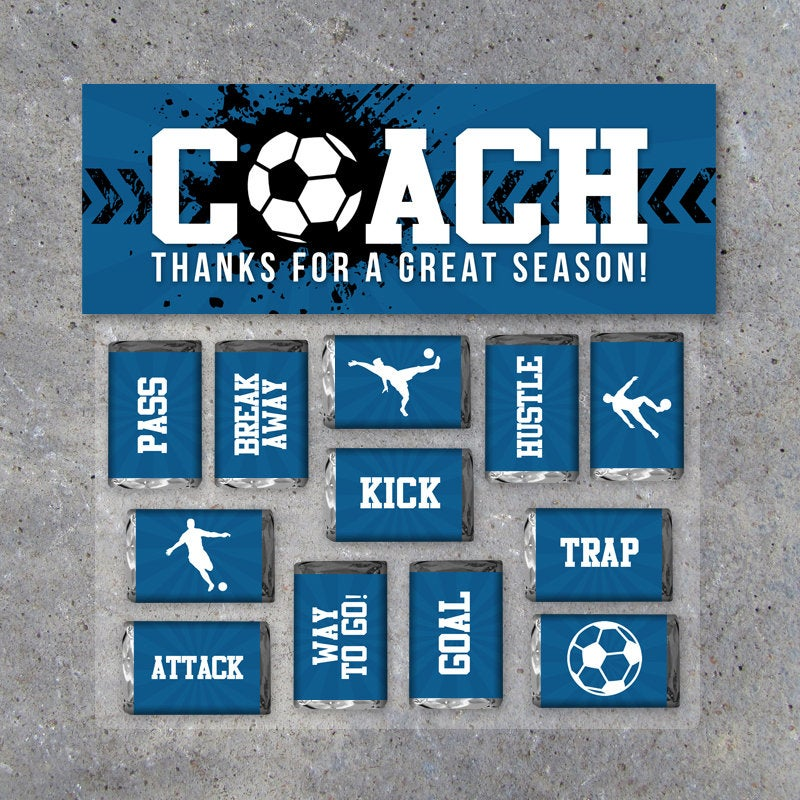 Soccer Coach Gift in Blue – Printable Soccer Mini Candy Bar Wrappers & Matching Treat Topper – Coach Thank You Gift – End of Season Treats
