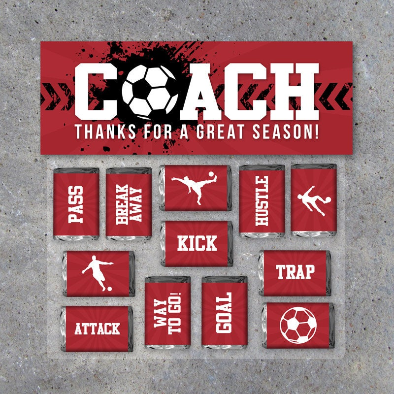 Soccer Coach Gift in Red – Printable Soccer Mini Candy Bar Wrappers & Matching Treat Topper – Coach Thank You Gift – End of Season Treats