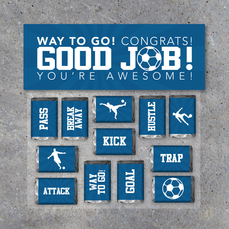 Soccer GOOD JOB Gift – Printable Soccer Mini Candy Bar Wrappers & Matching Treat Toppers – Soccer Congrats End of Season Treat – Soccer Gift