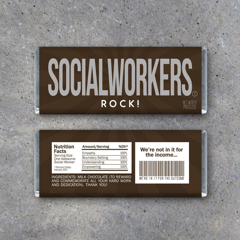 Social Workers Rock! Candy Bar Wrappers – Printable Instant Download sized to fit Hershey's bars – Last minute employee appreciation gifts