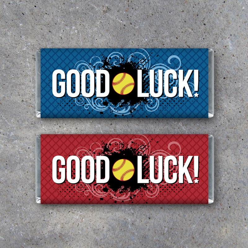 Softball GOOD LUCK Candy Bar Wrapper in Red or Blue – Printable Instant Download Hershey Wrappers for Game Day Locker Treats – Softball Gift