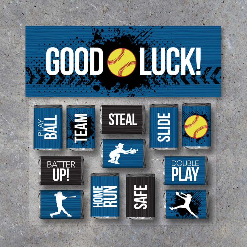 "Softball Mini Candy Bar Wrappers and Matching Treat Toppers featuring ""Good Luck"" or ""Great Job""! Sports Printable Instant Download in Blue"