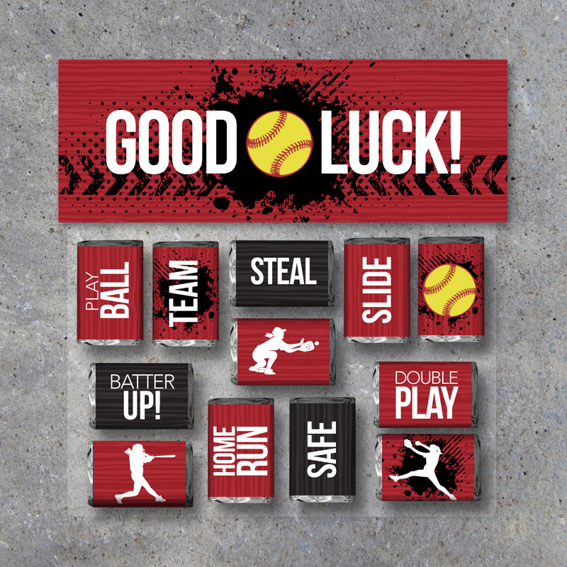 "Softball Mini Candy Bar Wrappers and Matching Treat Toppers featuring ""Good Luck"" or ""Great Job""! Sports Printable Instant Download in Red"