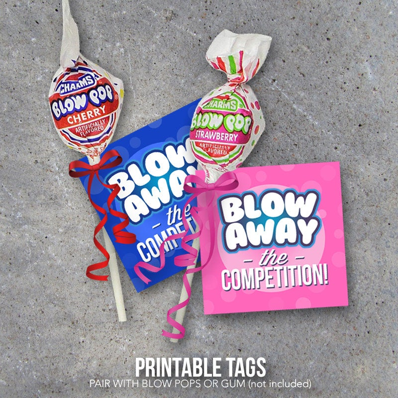 Sports Good Luck Gift – Blow Away The Competition Printable Tags designed to pair with Blow Pops or Gum – DIY Locker Treats for Game Day