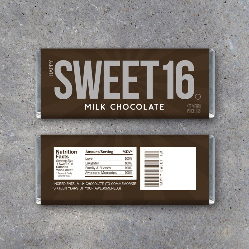 Sweet Sixteen Candy Bar Wrappers – Printable Sweet 16 Happy Birthday Hershey's Candy Bar Wrappers – Use for party favors, gifts or gift tags
