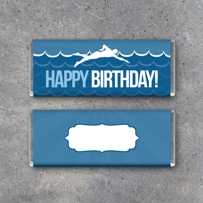 Swimming Happy Birthday Candy Bar Wrapper – Printable Instant Download – Birthday Present, Birthday Party Favors, Birthday Gift Tags
