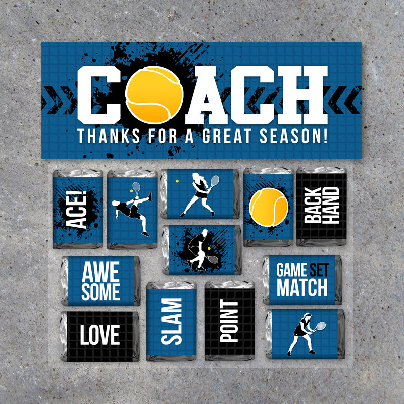 Tennis Coach Gift in Blue – Printable Tennis Mini Candy Bar Wrappers & Matching Treat Topper – Coach Thank You Gift – End of Season Treats