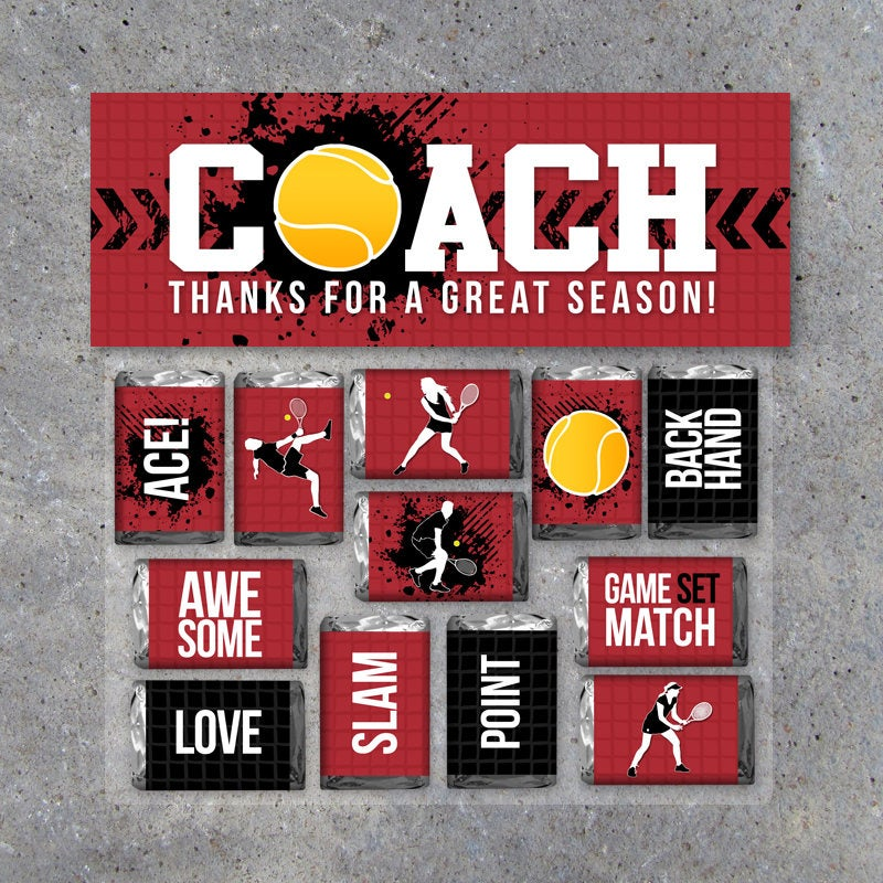 Tennis Coach Gift in Red – Printable Tennis Mini Candy Bar Wrappers & Matching Treat Topper – Coach Thank You Gift – End of Season Treat