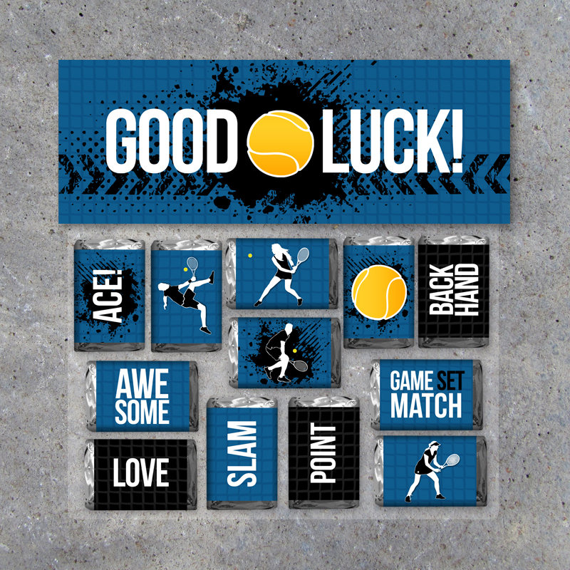 "Tennis Mini Candy Bar Wrappers and Matching Treat Toppers featuring ""Good Luck"" or ""Great Job""! – Sports Printable Instant Download in Blue"