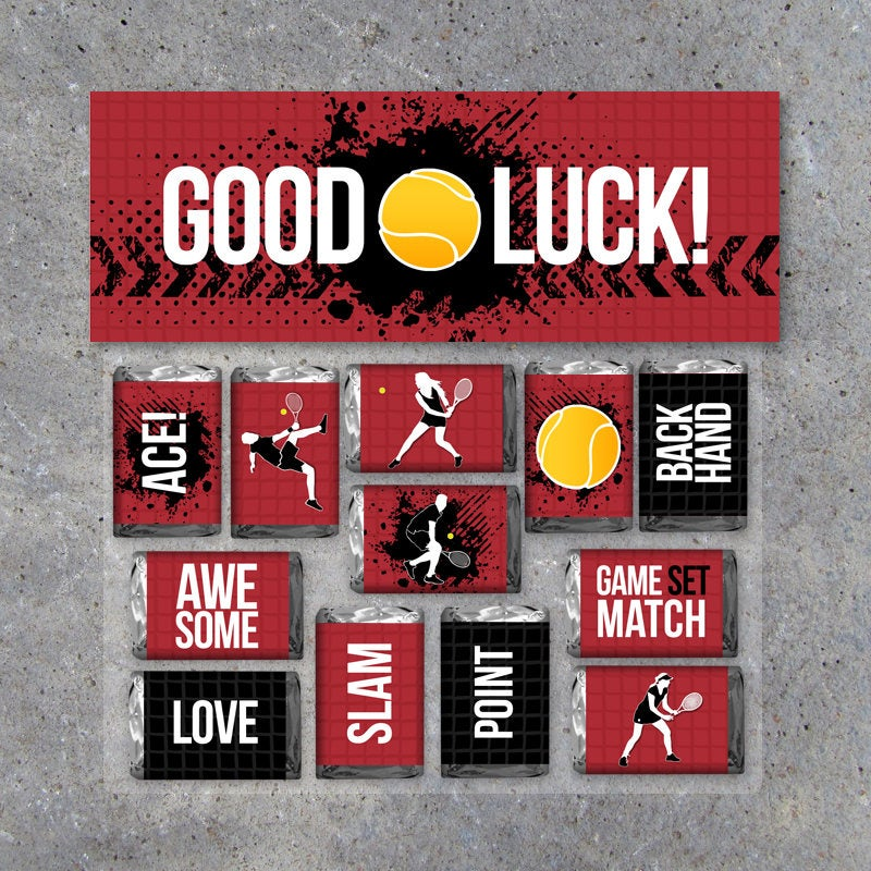 """Tennis Mini Candy Bar Wrappers and Matching Treat Toppers featuring """"Good Luck"""" or """"Great Job""""! – Sports Printable Instant Download in Red"""