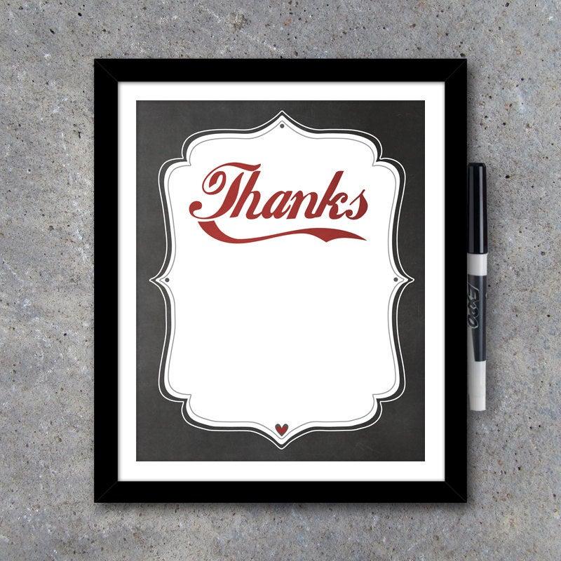 Thanks…Dry Erase Board – Modern Wall Art – Printable Digital File – Interactive Art – Home Decor – Anniversary Gift – House Warming Gift
