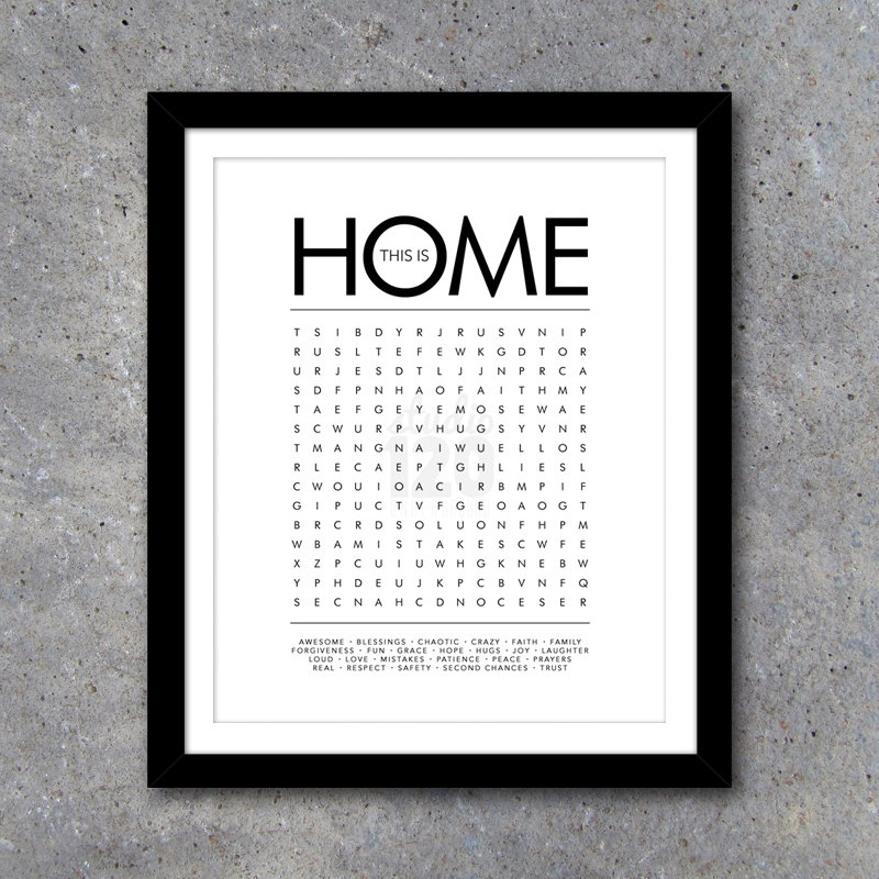 THIS IS HOME Word Search Modern Wall Art – Printable Digital File – 16×20 – Interactive – House Warming Gift – Wedding Gift  – Gift