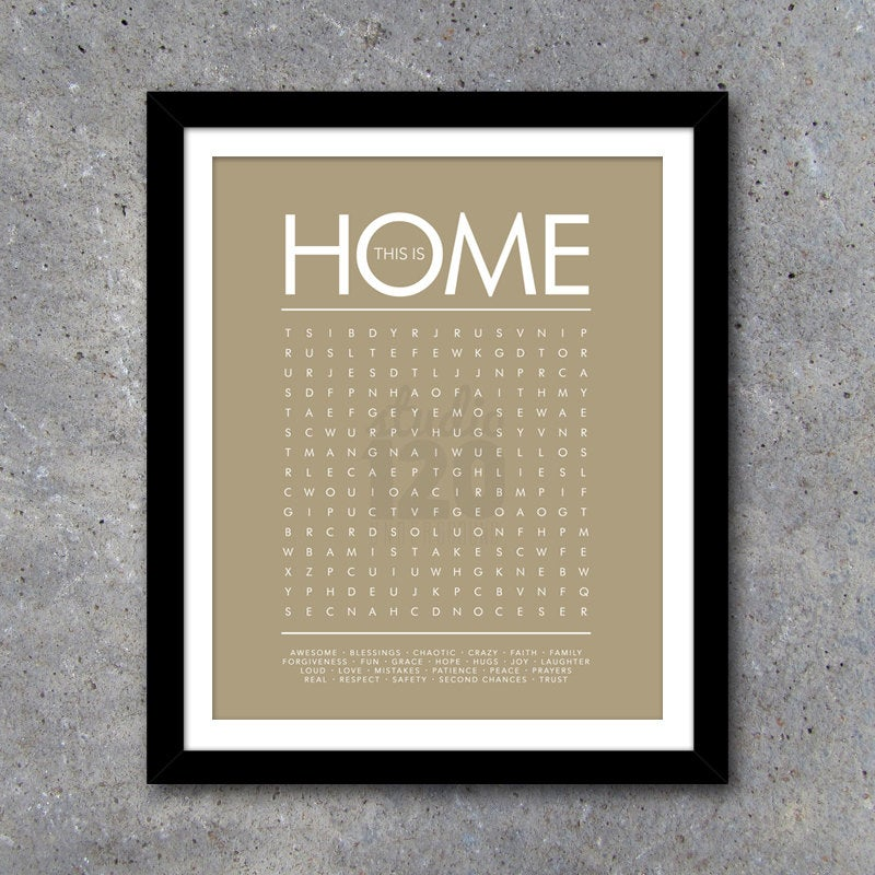 THIS IS HOME Word Search Modern Wall Art – Printable Digital File – 16×20 – Taupe – Interactive – Gift – House Warming Gift – Wedding Gift