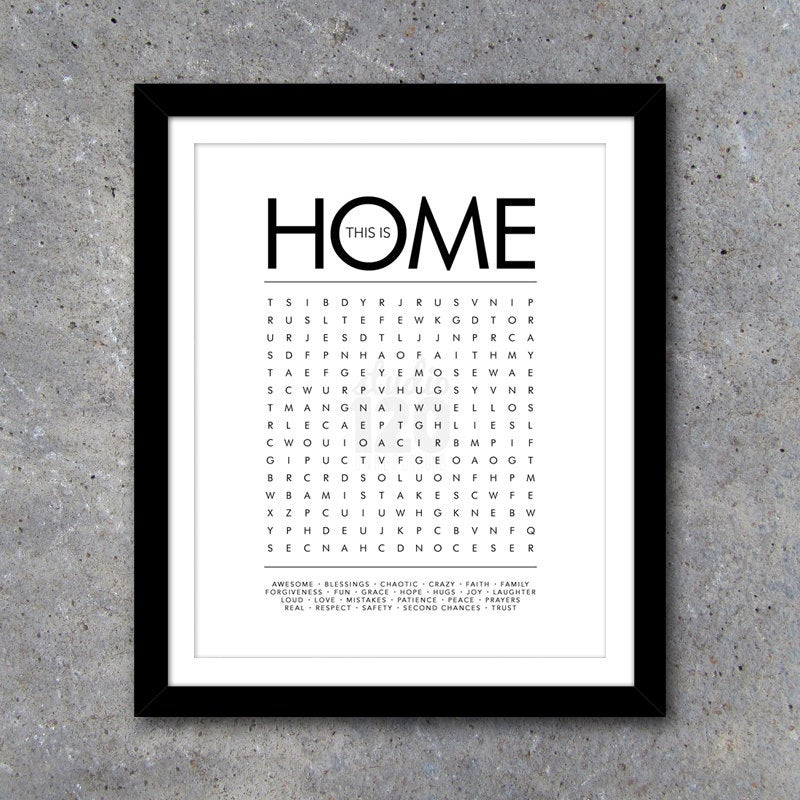 THIS IS HOME Word Search Modern Wall Art – Printable Digital File – 8×10 – Interactive – House Warming Gift – Wedding Gift  – Gift