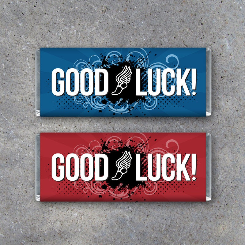 Track / Cross Country GOOD LUCK Candy Bar Wrapper – DIY Printable Instant Downloads in Red and Blue for Game Day Locker Treats – Track Gifts
