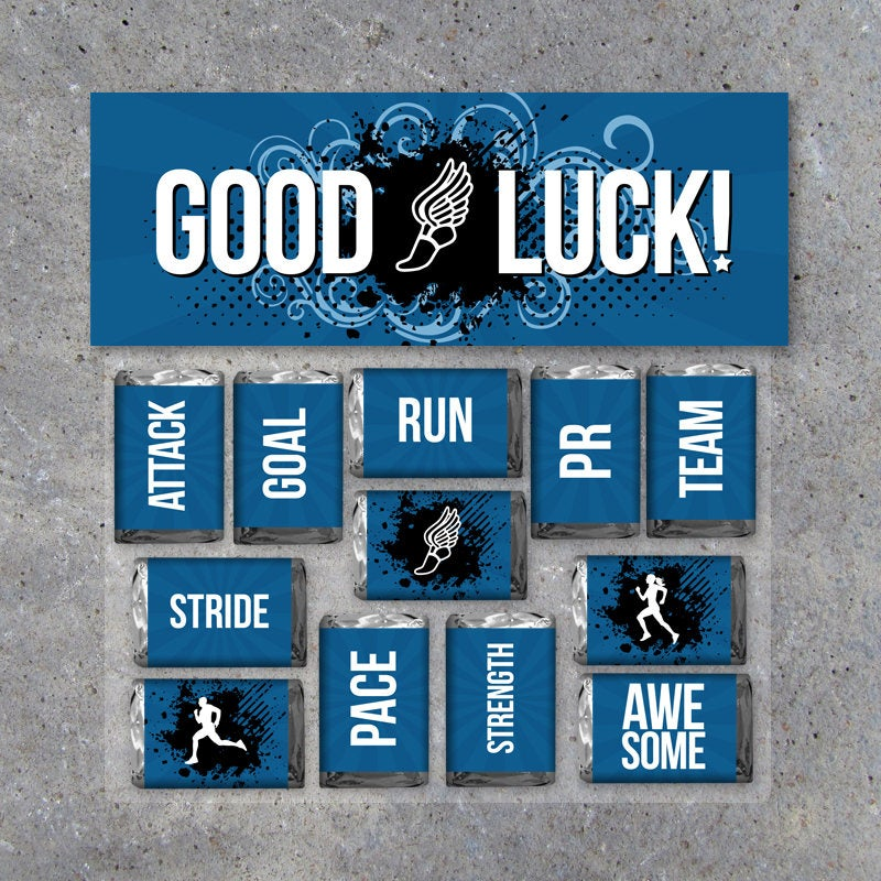 """Track Cross Country Mini Candy Bar Wrappers and Matching Treat Toppers featuring """"Good Luck"""" or """"Great Job""""! – DIY Sports Printable in Blue"""