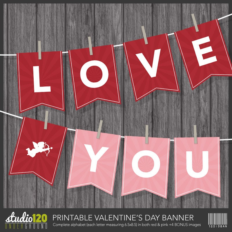 Valentine's Day Banner – Printable Digital File – Instant Download – Pennant – Bunting – Garland – Love Banner – Modern Holiday Party Decor