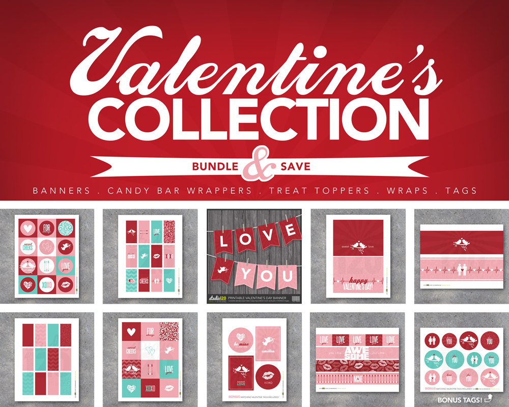 Valentine's Day Collection – Printable Digital Files – Banners, candy bar wrappers, treat toppers, tags, wraps, gifts, favors, art, decor
