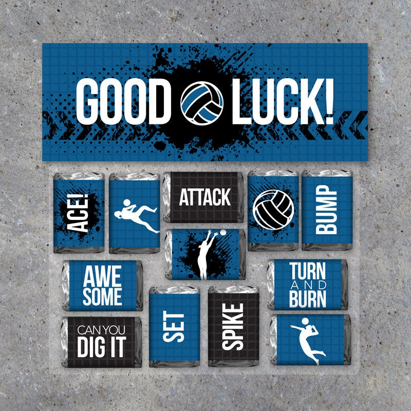 """Volleyball Mini Candy Bar Wrappers and Matching Treat Toppers featuring """"Good Luck"""" or """"Great Job""""! Printable Instant Download in Blue"""