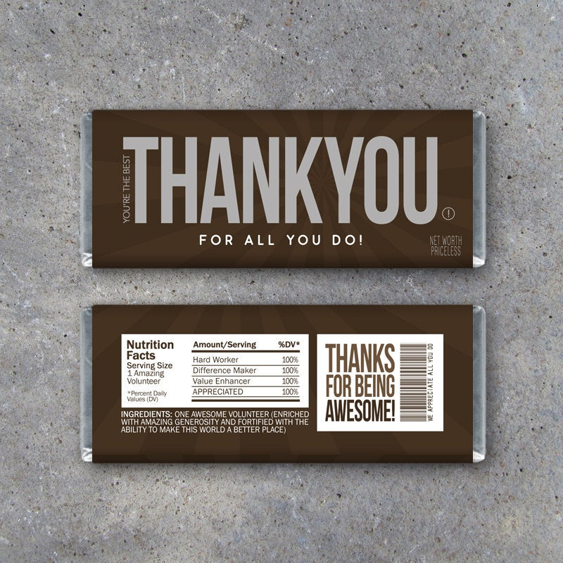 "VOLUNTEER APPRECIATION GIFT – Printable ""Thank You"" Candy Bar Wrappers Instant Download – Volunteer Recognition Gift – Party Favors"